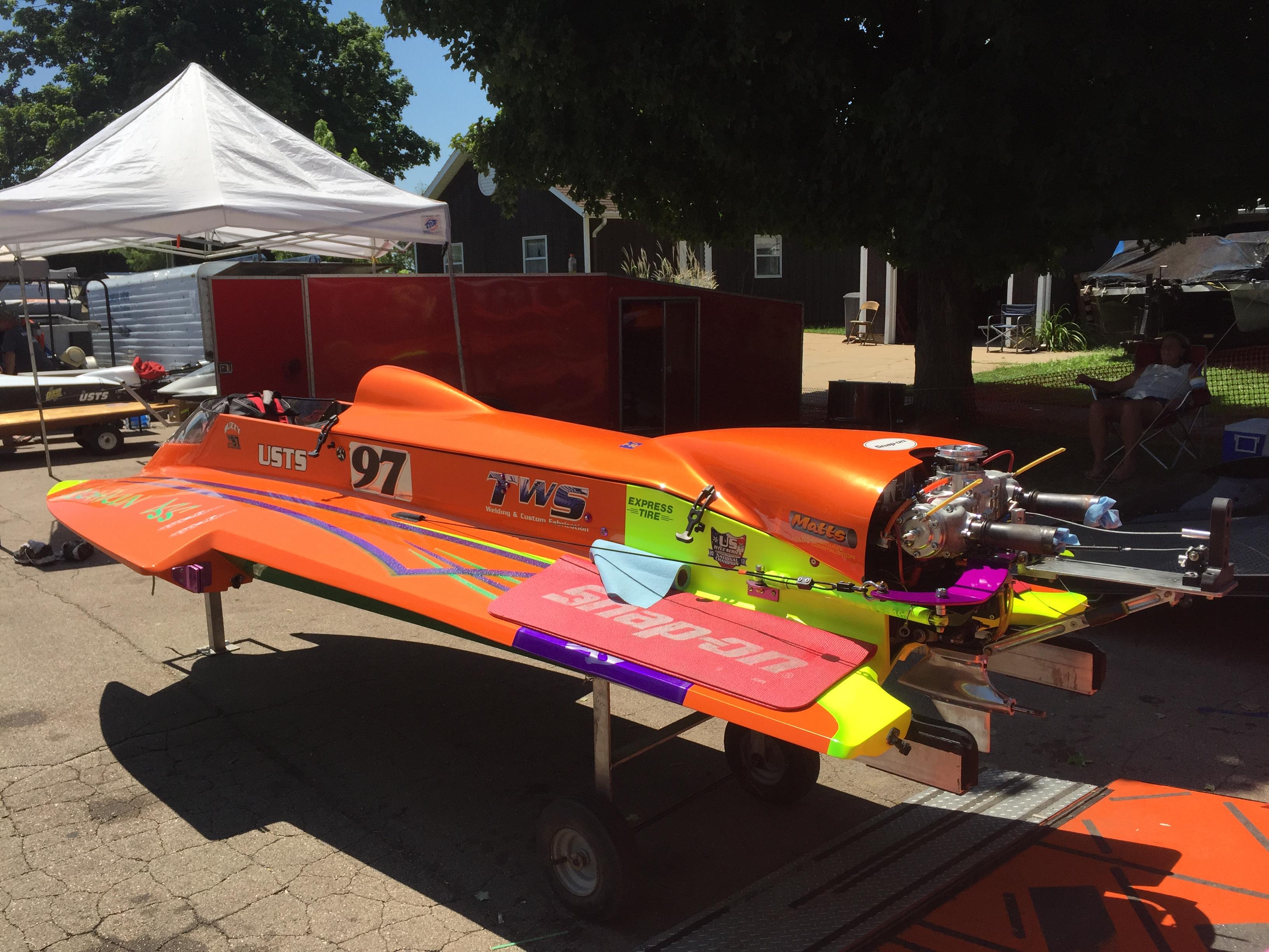 Orange Boat at Depue Boat Race in Paddock Area